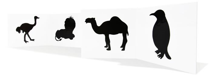 černobílé leporelo zvířátka