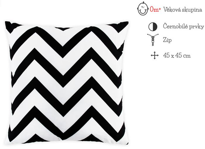 černobílý povlak na polštář
